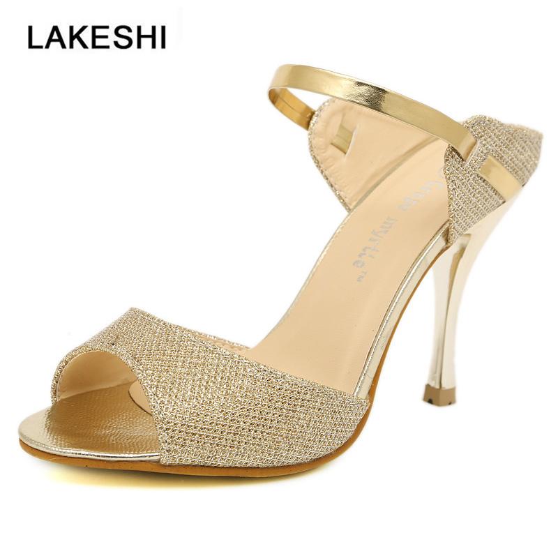 Summer Women Pumps Small Heels Wedding Shoes Gold Silver