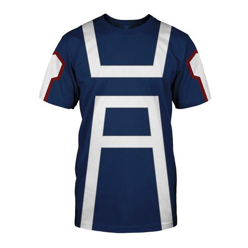 25fabbb54 My Hero Academia Men's Summer T-shirts Midoriya Izuku 3D Printing School  College Style Boku no Hero Academia Blue T Shirt Tops